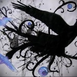эскиз цветной ворон тату 15