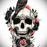 эскиз цветной ворон тату 18
