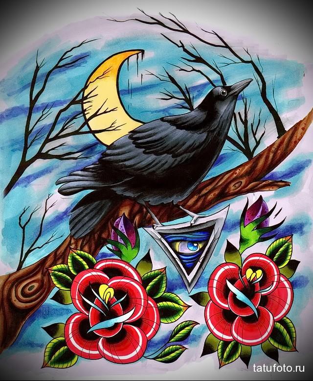 эскиз цветной ворон тату 3