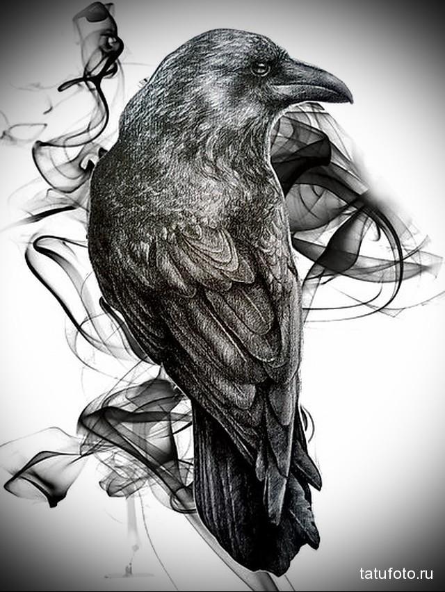 эскиз черный ворон тату 2