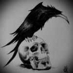 эскиз черный ворон тату 4