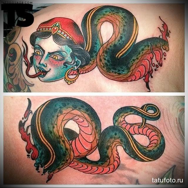 змея на шее тату вариант