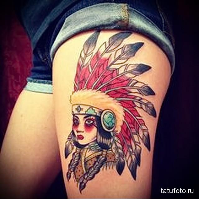 татуировка девушка индеец в яркой расскраске на женскую ногу
