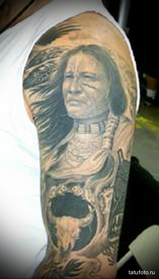 тату индеец рукав 1