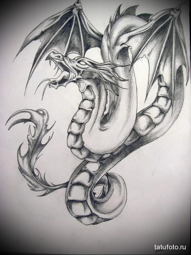эскиз дракон на бедре тату 4