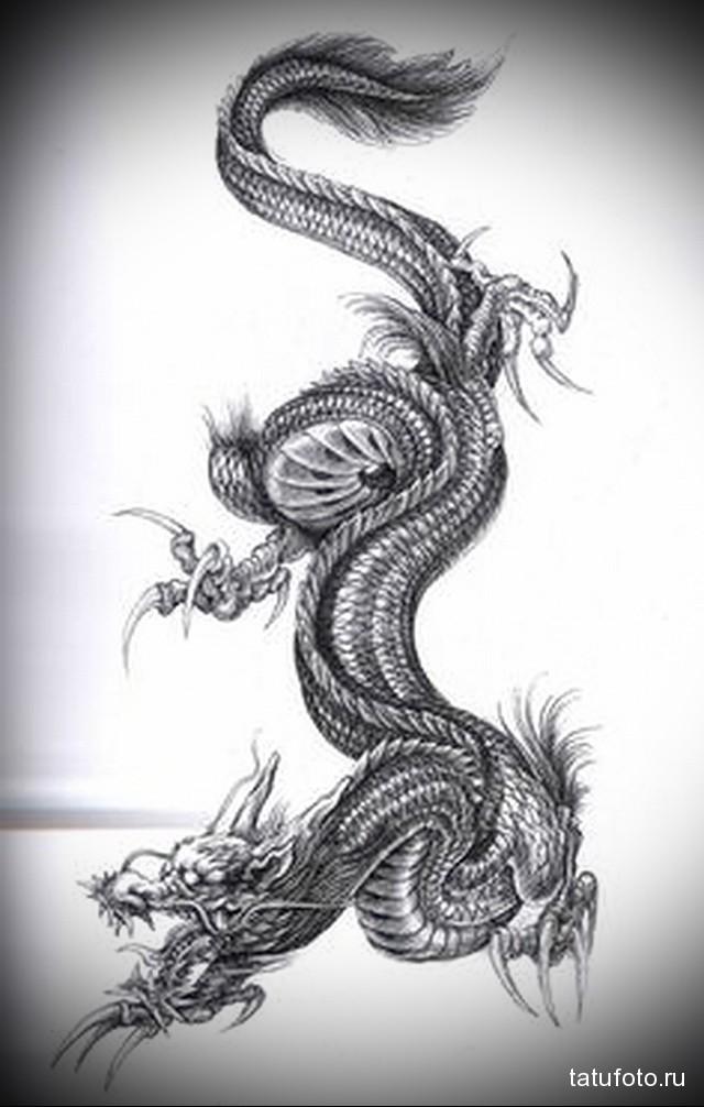 эскиз дракон на бедре тату 6