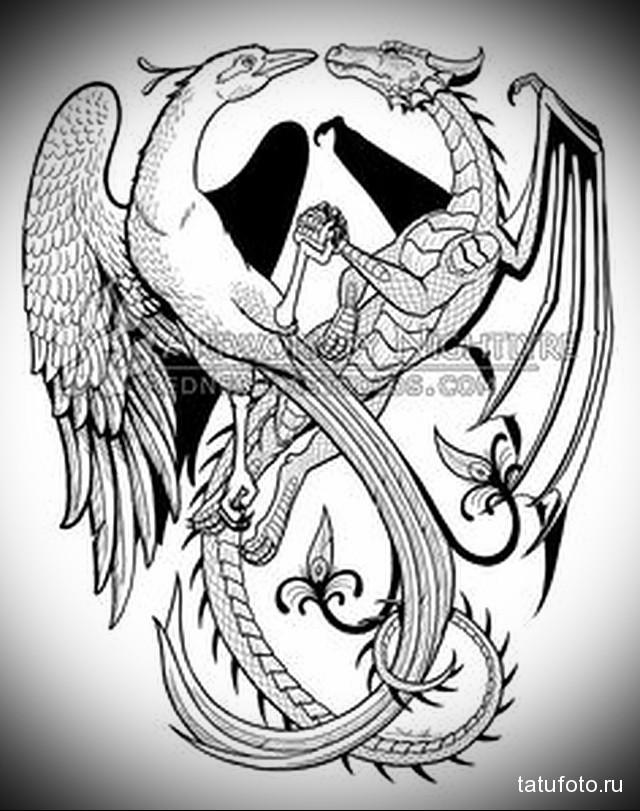 эскиз дракон на бедре тату 7