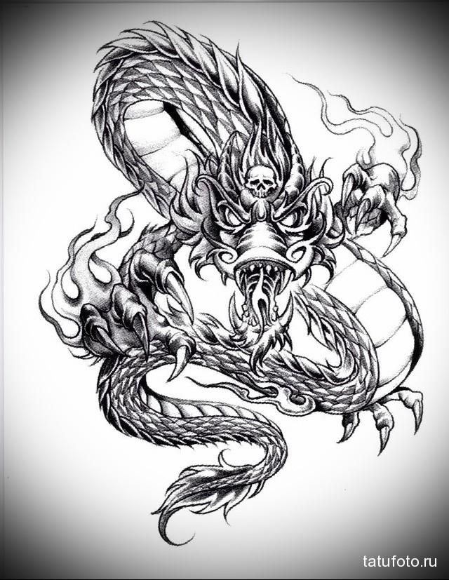 эскиз дракон на руке тату 3