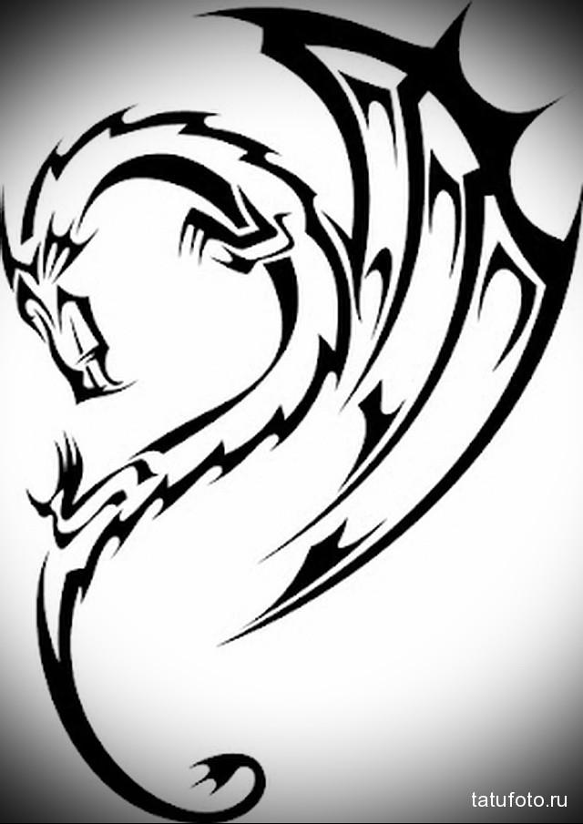 эскиз дракон на шее тату 1