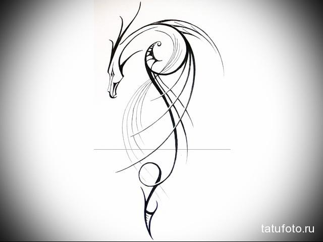 эскиз дракон на шее тату 2