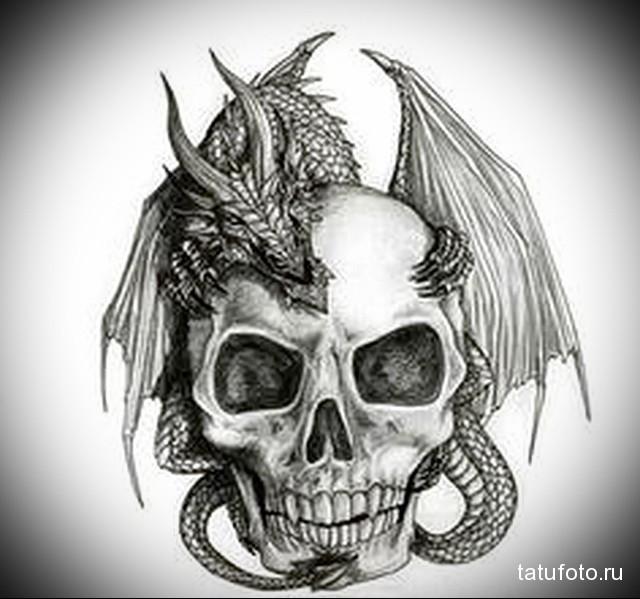 эскиз дракон на шее тату 6