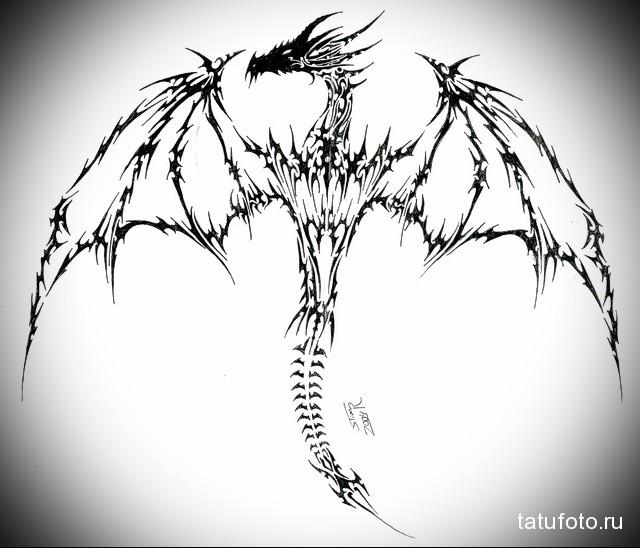 эскиз дракон на шее тату 7