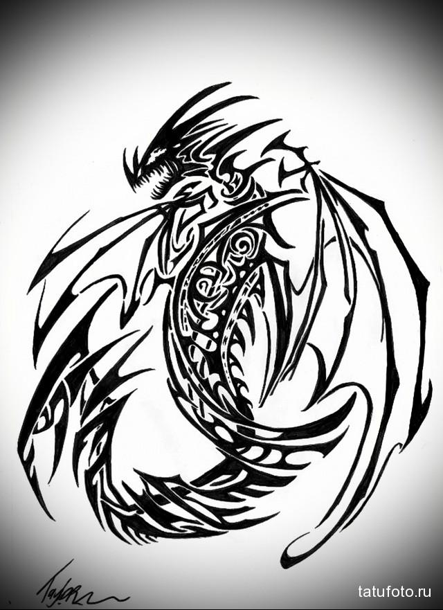 эскиз дракон тату на ноге 1