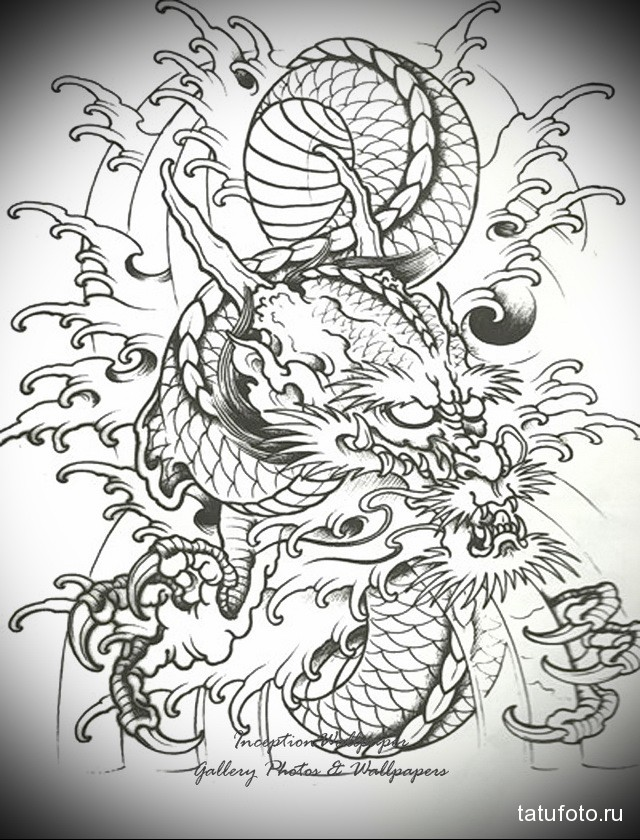 эскиз дракон тату на ноге 2