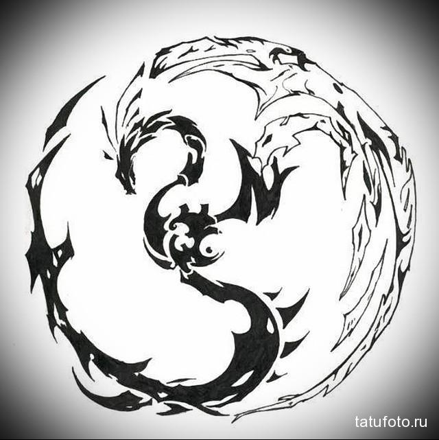 эскиз дракон тату на ноге 4