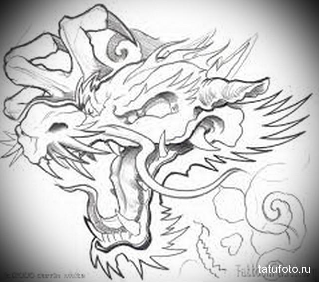 эскиз дракон тату на ноге 7