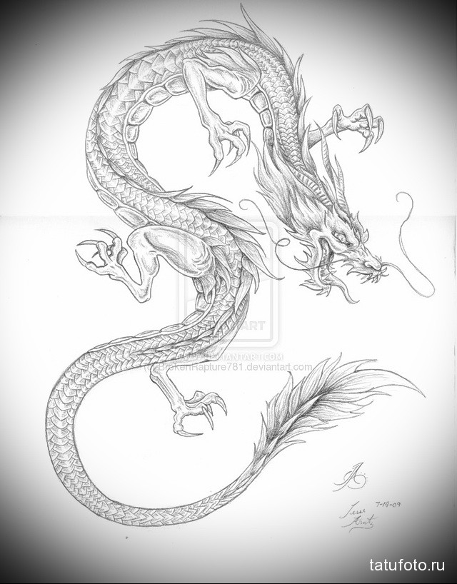эскиз китайский дракон тату 1