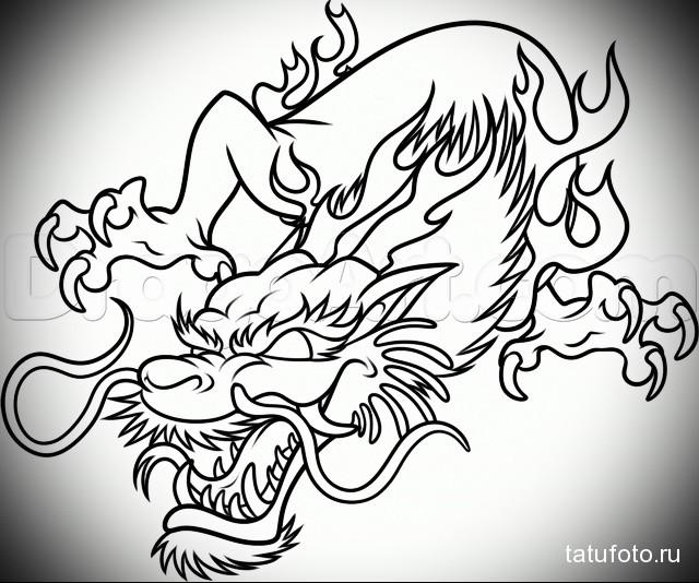 эскиз китайский дракон тату 2