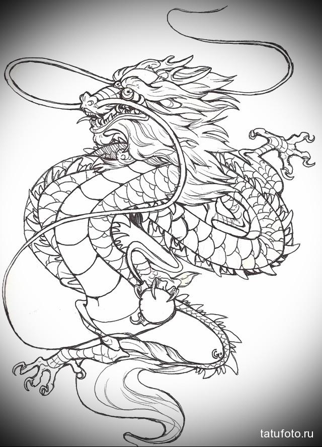 эскиз китайский дракон тату 3