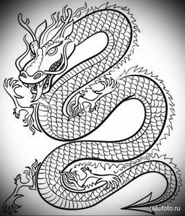 эскиз китайский дракон тату 5