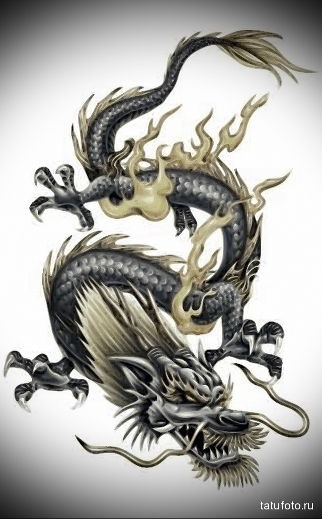 эскиз мужские тату драконы 2
