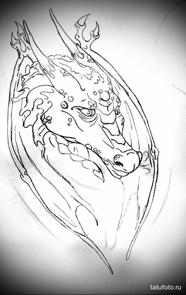 эскиз тату дракон на лопатке 1