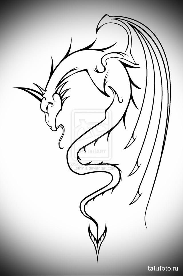 эскиз тату дракон на плече 5