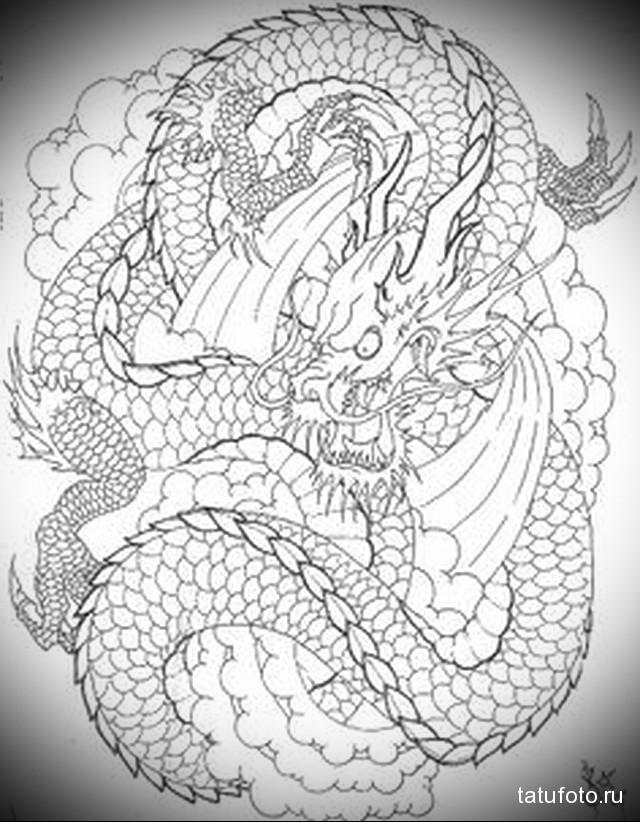эскиз тату на спине дракон 1