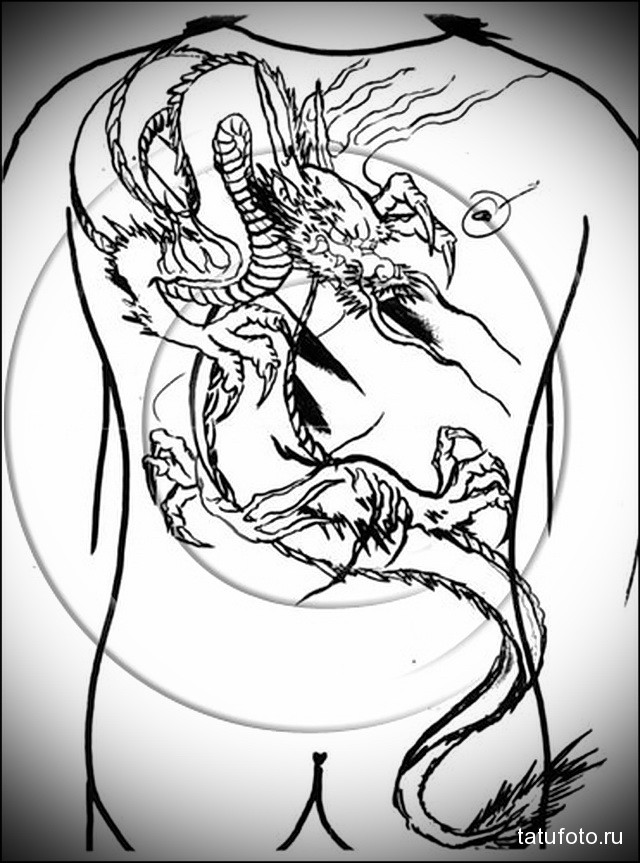 эскиз тату на спине дракон 4