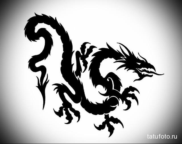 эскиз тату черный дракон 1