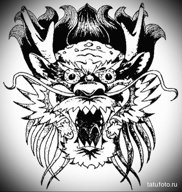 эскиз тату черный дракон 4