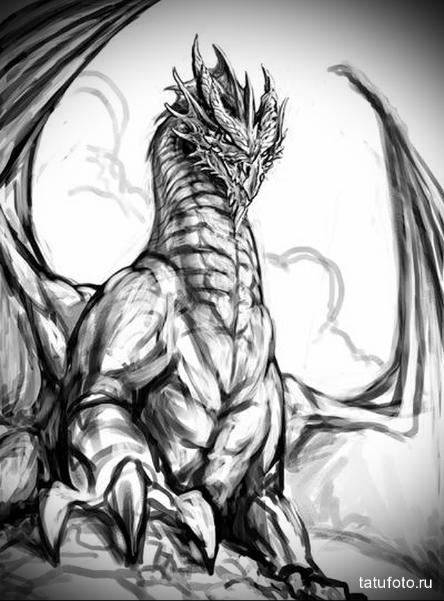 эскиз тату черный дракон 5