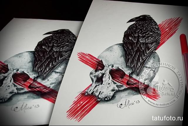 эскиз цветной ворон тату 16