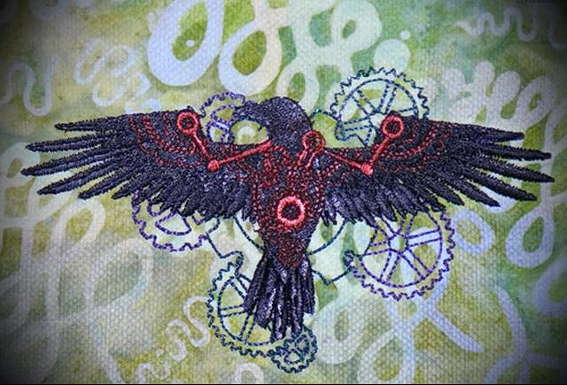 эскиз цветной ворон тату 17