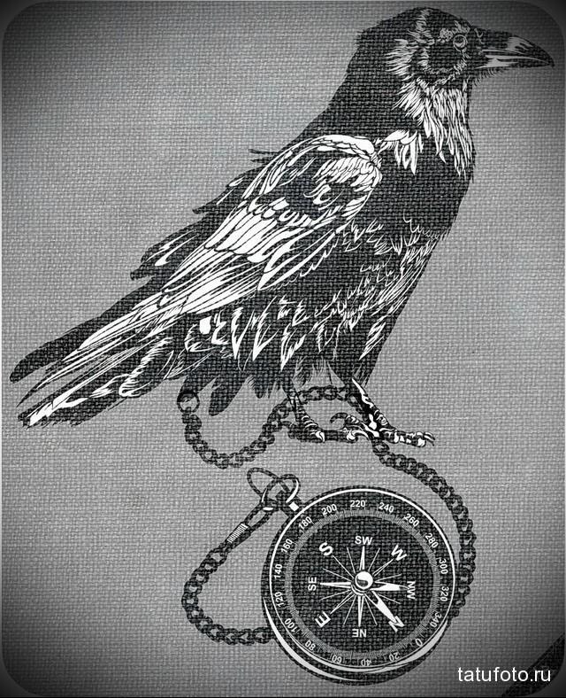 эскиз черный ворон тату 5