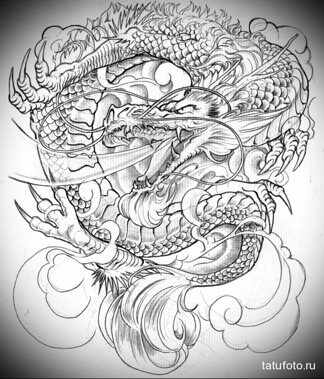 эскиз японский дракон тату 1