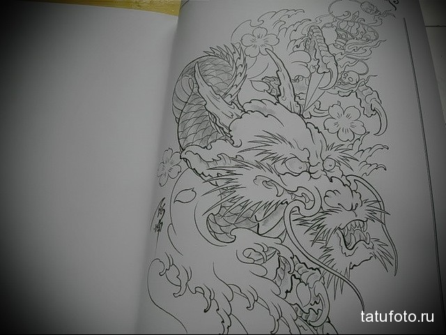 эскиз японский дракон тату 2
