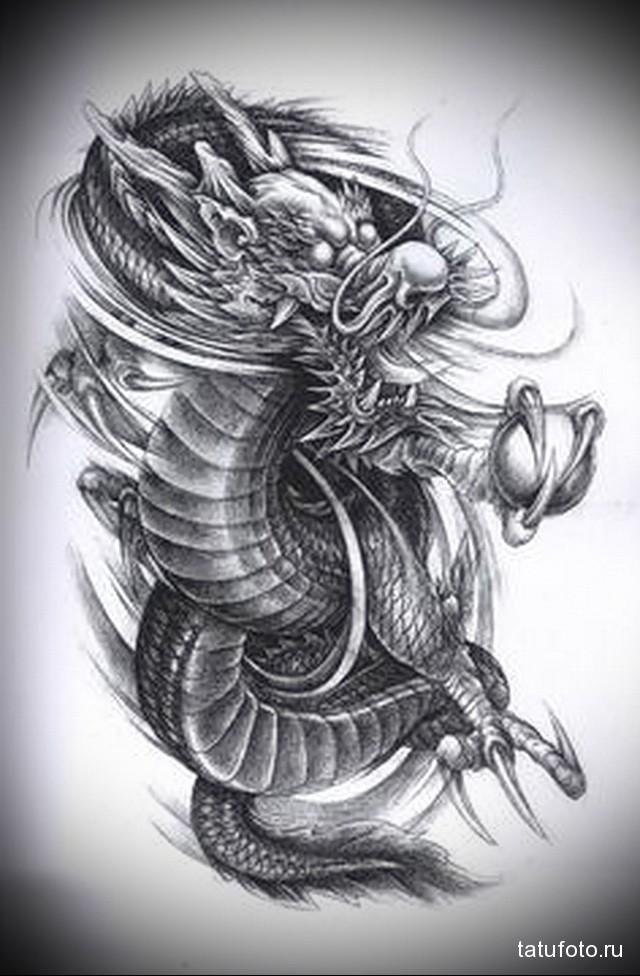эскиз японский дракон тату 5