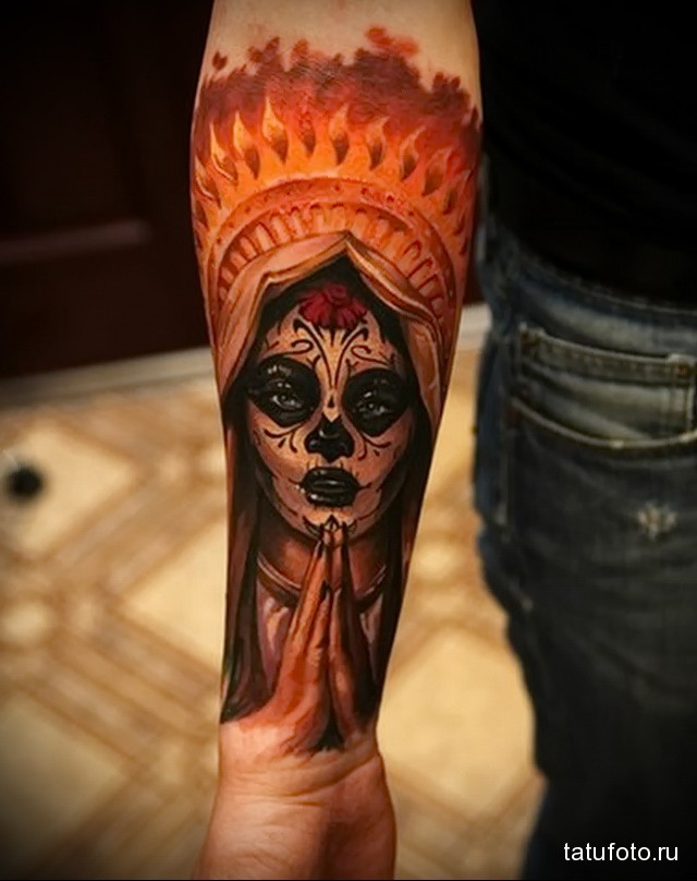 Indian tattoo on his arm