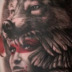 Indian with wolf tattoo