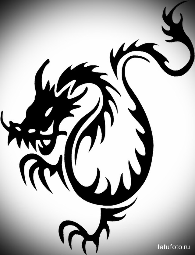 sketch of a black dragon tattoo