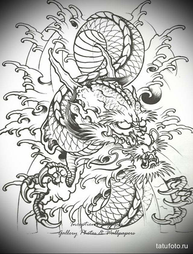 sketch of a dragon tattoo on his arm 1