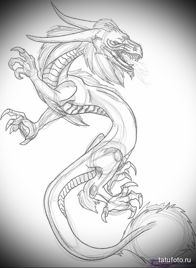sketch of a dragon tattoo on his neck