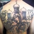 дева и младенец на фоне церкви с куполами - татуировка