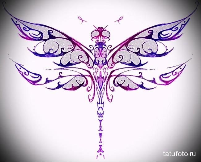 пример эскиза для татуировки стрекоза