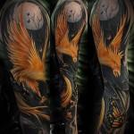татуировка феникс в ночи