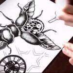 эскиз карандашом для татуировки жук