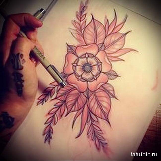 пример эскиза для тату с цветком