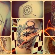 Значение тату компас — пример на фото