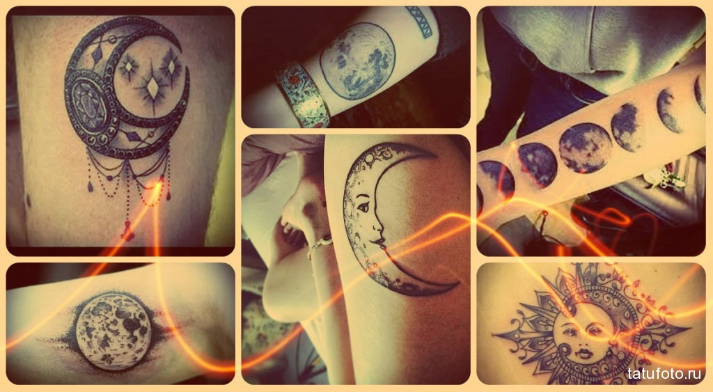 Значение тату луна - примеры на фото